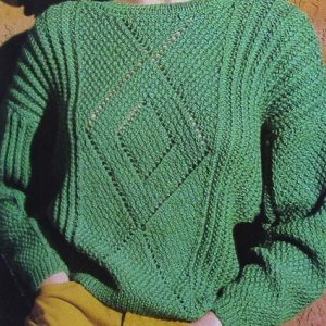 Sweater Vintage Knitting Pattern - 4 Ply Worsted Yarn - Size S/M, L - Lace Motif Texture Stitch