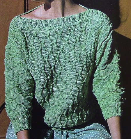 Pullover Long Sleeves Boat Neck - Vintage Knitting Pattern - 4 Ply Worsted Yarn - Size S, M, L - Texture Stitch