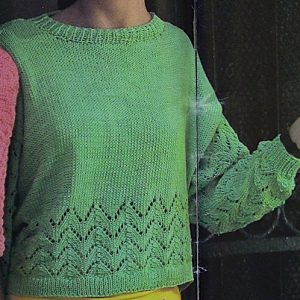Summer Top Long Sleeves - Openwork Stitch - Worsted Yarn - Intermediate - Sizes S, M, L, XL - Knitting Pattern Vintage
