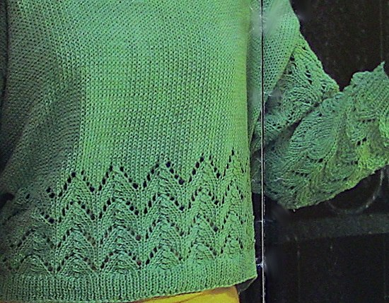 Summer Top Long Sleeves - Lace Stitch - InteRmediate - Sizes S, M, L, XL - Knitting Pattern Vintage