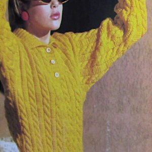 Cable Stitch Pullover Long Sleeves Collar - Vintage Knitting Pattern - 4 Ply Worsted Yarn - Size S, M, L - Texture Stitch