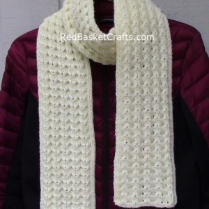 Fancy Rib Scarf in Lace Shell Stitch - Knitting Pattern - Worsted Medium Weight Yarn