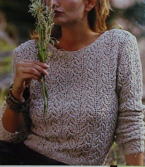 Women's Textured Sweater in Leaf Stitch Openwork, Long Sleeves, Round Neck - Sizes S/M, M/L - Fingering Yarn - Vintage Knitting Pattern