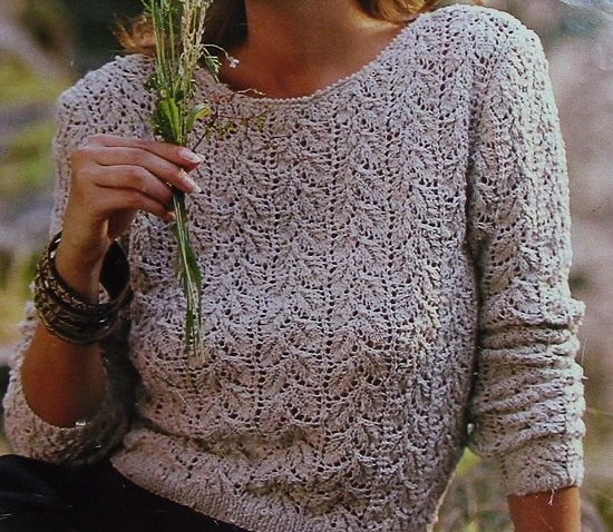 Women's Textured Pullover in Leaf Stitch Openwork, Long Sleeves - Sizes S/M, M/L - Fingering Yarn - Vintage Knitting Pattern