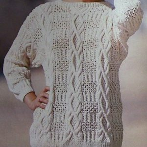 Women's Textured Pullover, Cable Stitch, Fancy Rib Stitch, Long Sleeves - Sizes M, L - Worsted Yarn - Vintage Knitting Pattern