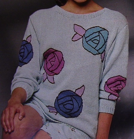 Women's Pullover with Roses in Fair-Isle Style - Long Sleeves - Sizes S, M, L - DK Yarn - Knitting Pattern