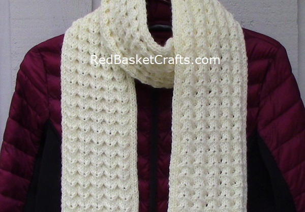 Shell Stitch Scarf - Knitting Pattern by Red Basket Crafts - Worsted Medium Weight Yarn