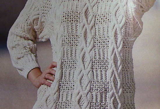 Women's Textured Sweater, Cable Stitch, Fancy Rib Stitch, Long Sleeves - Sizes M, L - Worsted Yarn - Vintage Knitting Pattern
