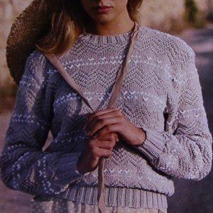 Women's Textured Pullover, Long Sleeves - Sizes S/M, M/XL - DK Yarn - Vintage Knitting Pattern