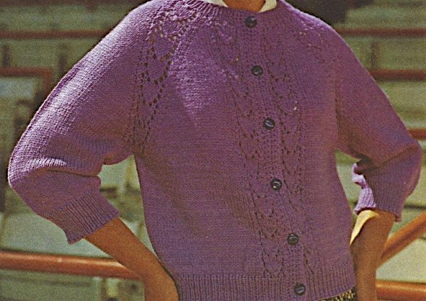Women's Raglan Cardigan Worked Top Down, Leaf Stitch, Buttons, Long Sleeves - Sizes S, M, L Worsted Yarn - Vintage Knitting Pattern