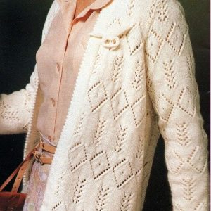 Women's Openwork Cardigan, Lace Stitch, Buttonless, Long Sleeves - Sizes S, M, L - DK or Fingering Yarn - Vintage Knitting Pattern