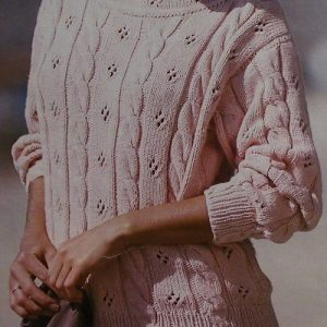 Women's Textured Pullover, Cable Stitch, Openwork Stitch, Long Sleeves - Sizes M, L - Worsted Yarn - Vintage Knitting Pattern