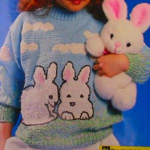 Bunnies Sweater Kids Sizes 6, 8 - Knitting Pattern - DK Yarn