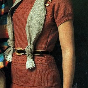 Women's Jumper and Skirt, Cable and Stockinette Stitch, Short Sleeves - Sizes XS, S, M, L - Baby or Fingering Yarn - Vintage Knitting Pattern