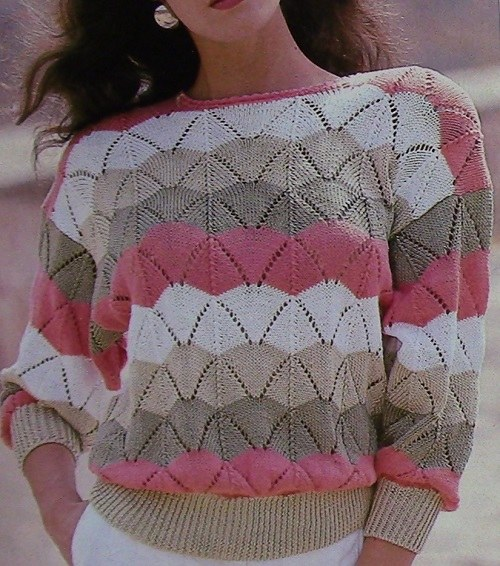 Women's Openwork Stitch Sweater, Ripple Stitch, Shell Stitch, Long Sleeves - Sizes M, L, XL - DK Yarn - Vintage Knitting Pattern