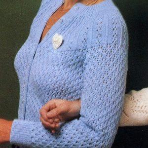 Women's Cardigan, Lace Stitch, Long Sleeves - Sizes XS, S, M, L - Fingering Yarn - Vintage Knitting Pattern