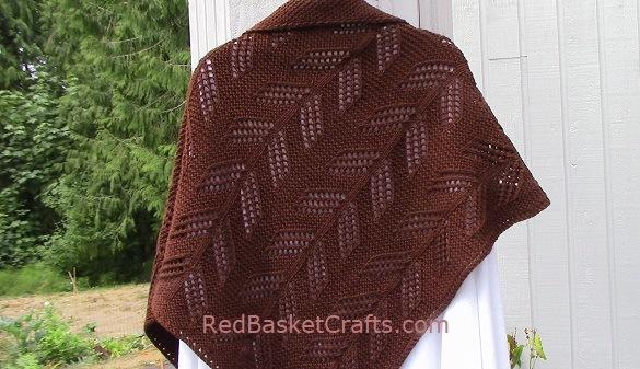 Triangle Leaf Stitch Shawl Knitted - Knitting Pattern - Worsted or DK Wool Yarn