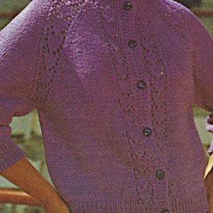 Women's Raglan Top-Down Cardigan, Leaf Stitch, Long Sleeves - Sizes S, M, L - Worsted Yarn - Vintage Knitting Pattern