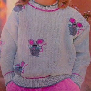 Sweater Kids Sizes 6, 8 - Knitting Pattern - Fingering Yarn
