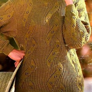 Women's Sweater Sizes S, M, L - Lace Leaf Cables - DK Yarn - Knitting Pattern