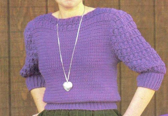 Puff Stitch Women's Top Pullover Crochet Pattern - Sizes S, M, L - DK or Sock Yarn