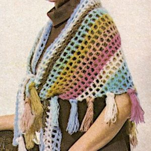 Triangle Shawl With Fringe - Vintage Crochet Pattern Easy - Worsted Yarn