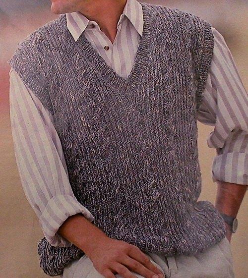 Tweed Look V-Neck Mens Vest Knitting Pattern Vintage - DK Yarn - Sizes S, M, L