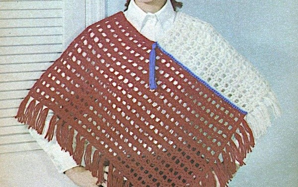 Two Color Poncho Crochet Pattern - One Size -