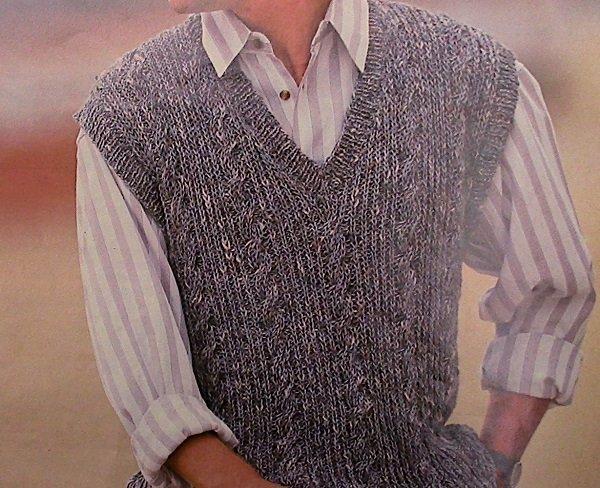 Cable Men's Vest Knitting Pattern Vintage - DK Yarn - Sizes S, M, L