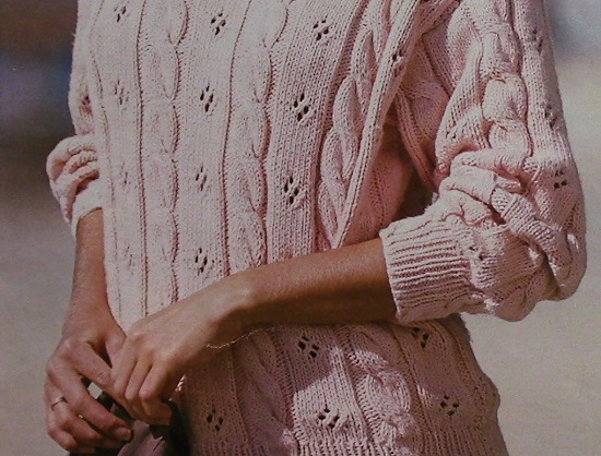 Women's Textured Sweater, Cable Stitch, Openwork Stitch, Long Sleeves - Sizes M, L - Worsted Yarn - Vintage Knitting Pattern