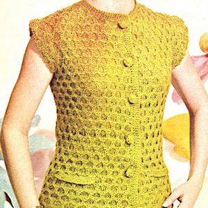 Women's Sleeveless Top Honeycomb Stitch - Sizes S, M, L - Vintage Knitting Pattern