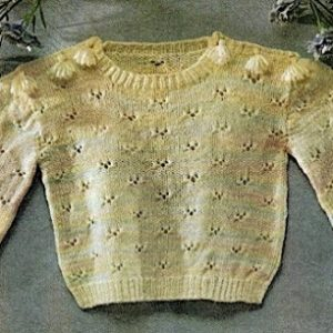 Baby Pullover Sweater - Fingering Baby Yarn - Vintage Knitting Pattern