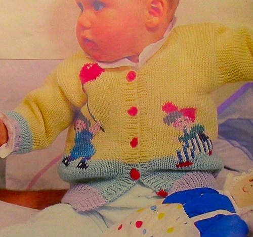 Baby 6 Months 9 Months Cardigan With Balloons - Knitting Pattern -DK or Sport Yarn