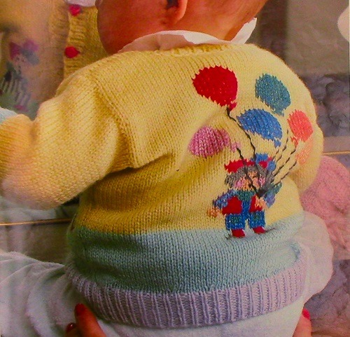 Baby 6 Months 9 Months Jacket With Balloons - Knitting Pattern -DK or Sport Yarn