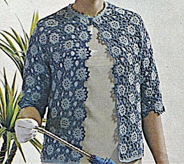 Lace Motif Jacket Cardigan Crochet Pattern - Size M - Fingering or Sport Yarn