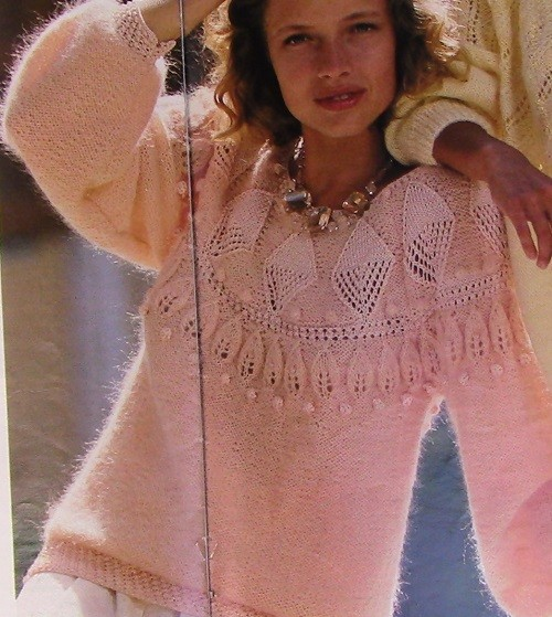 Women's Pullover, Leaf Stitch, Long Sleeves - Size M/L - Worsted Yarn - Vintage Knitting Pattern