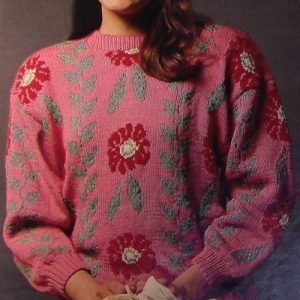 Women's Pullover, Fair-Isle/Intarsia/Jacquard Technique, Long Sleeves - Size M, L - Worsted or DK Yarn - Vintage Knitting Pattern