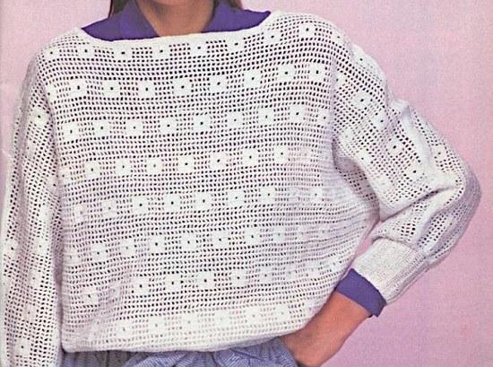 Mesh Stitch Filet Pullover Crochet Pattern 1980s - Sizes M, L - Fingering Yarn