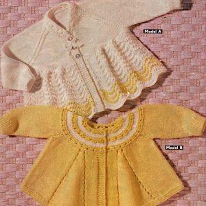 Baby Cardigan, 2 Designs - Knitting Pattern - 0-3 Months - Fingering Yarn